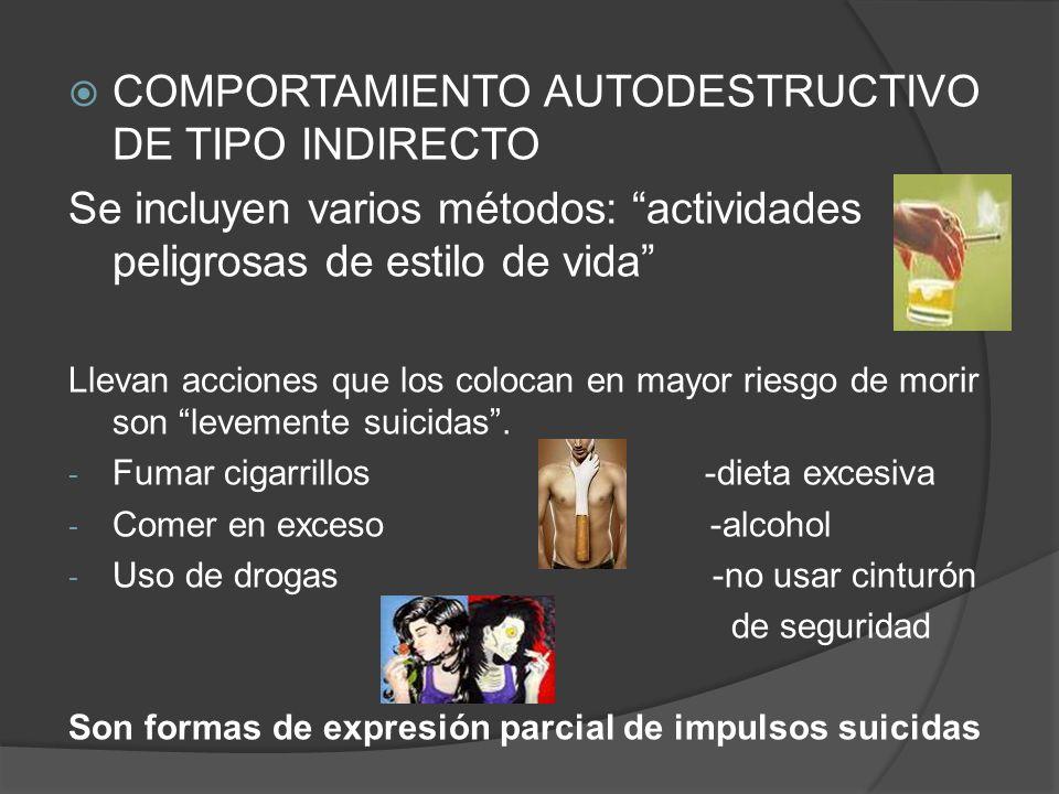 COMPORTAMIENTO AUTODESTRUCTIVO DE TIPO INDIRECTO Se incluyen varios métodos: actividades peligrosas de estilo de vida Llevan acciones que los colocan