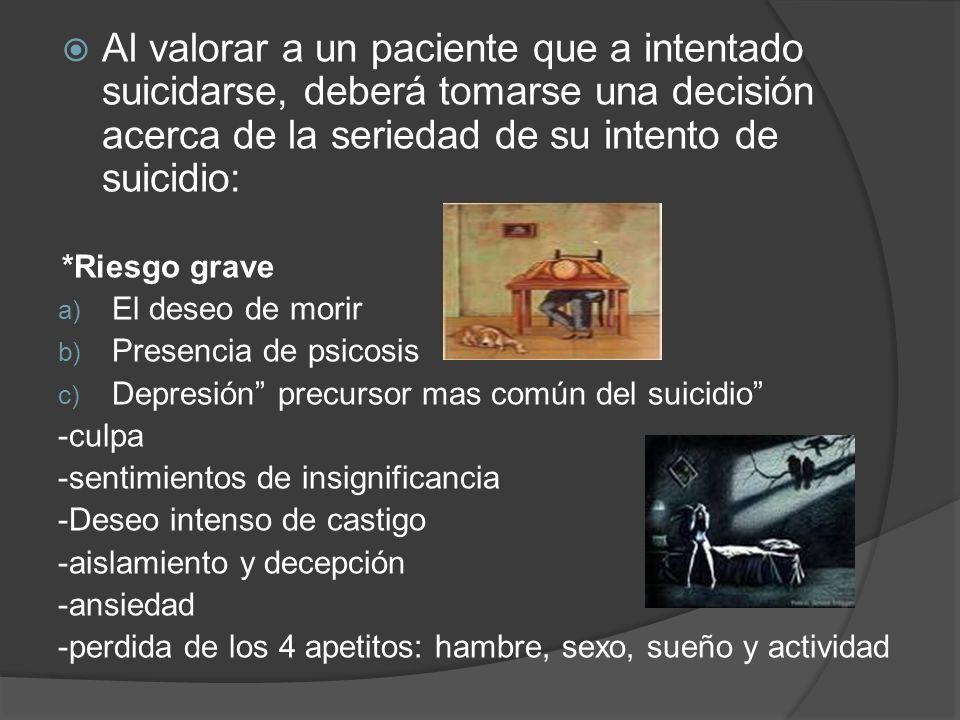 Al valorar a un paciente que a intentado suicidarse, deberá tomarse una decisión acerca de la seriedad de su intento de suicidio: *Riesgo grave a) El