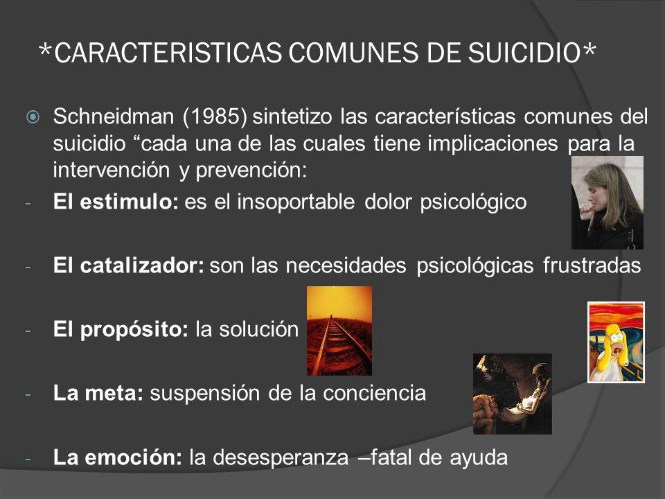 *CARACTERISTICAS COMUNES DE SUICIDIO* Schneidman (1985) sintetizo las características comunes del suicidio cada una de las cuales tiene implicaciones
