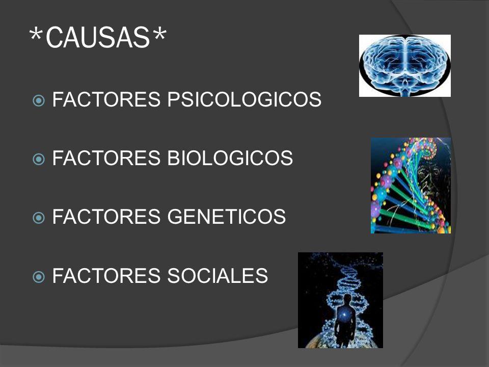 *CAUSAS* FACTORES PSICOLOGICOS FACTORES BIOLOGICOS FACTORES GENETICOS FACTORES SOCIALES