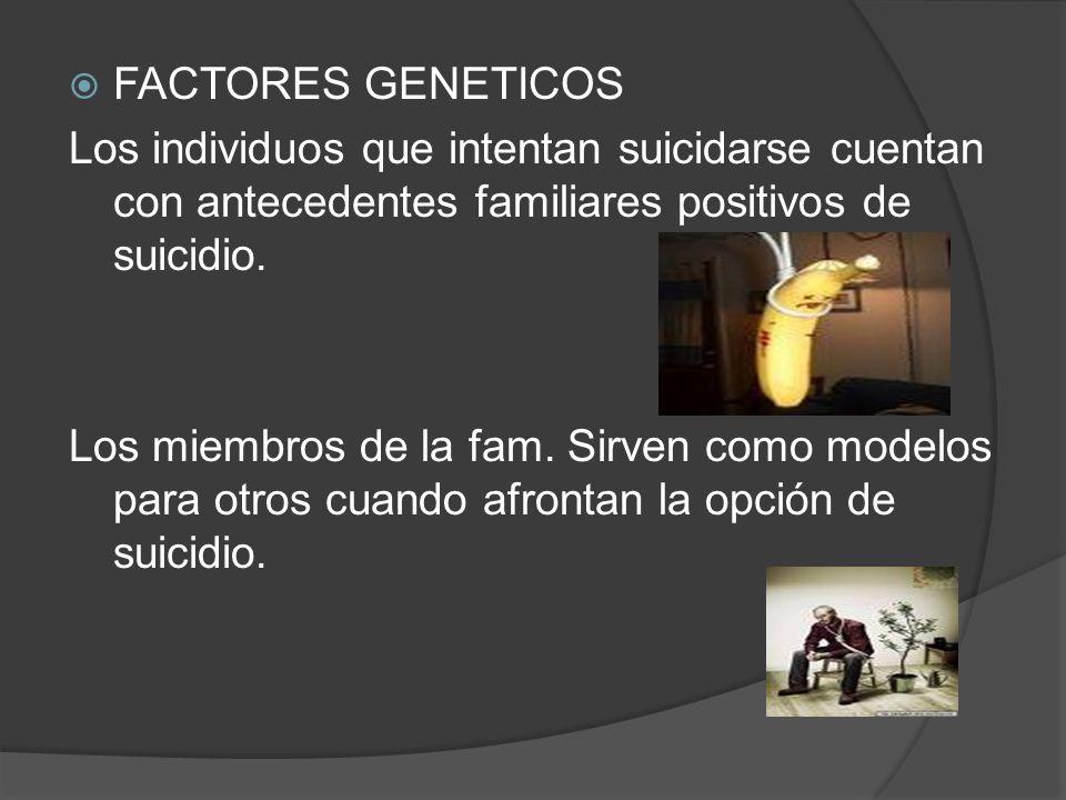 FACTORES GENETICOS Los individuos que intentan suicidarse cuentan con antecedentes familiares positivos de suicidio. Los miembros de la fam. Sirven co
