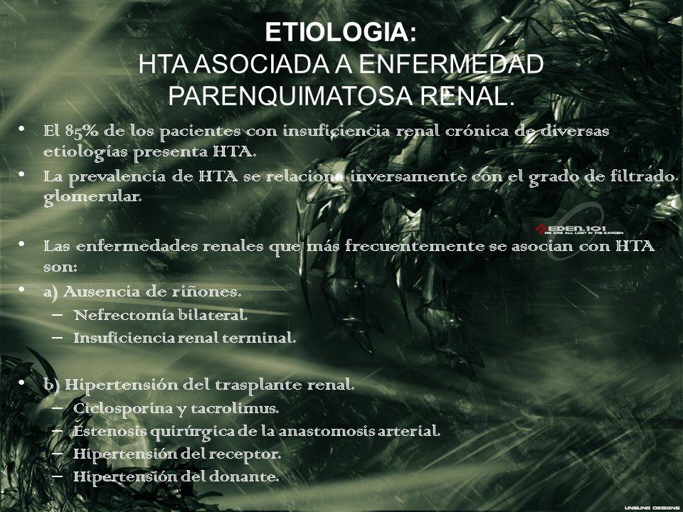 ETIOLOGIA: HTA ASOCIADA A ENFERMEDAD PARENQUIMATOSA RENAL. El 85% de los pacientes con insuficiencia renal crónica de diversas etiologías presenta HTA