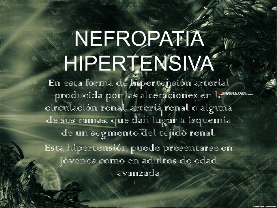 NEFROPATIA HIPERTENSIVA En esta forma de hipertensión arterial producida por las alteraciones en la circulación renal, arteria renal o alguna de sus r