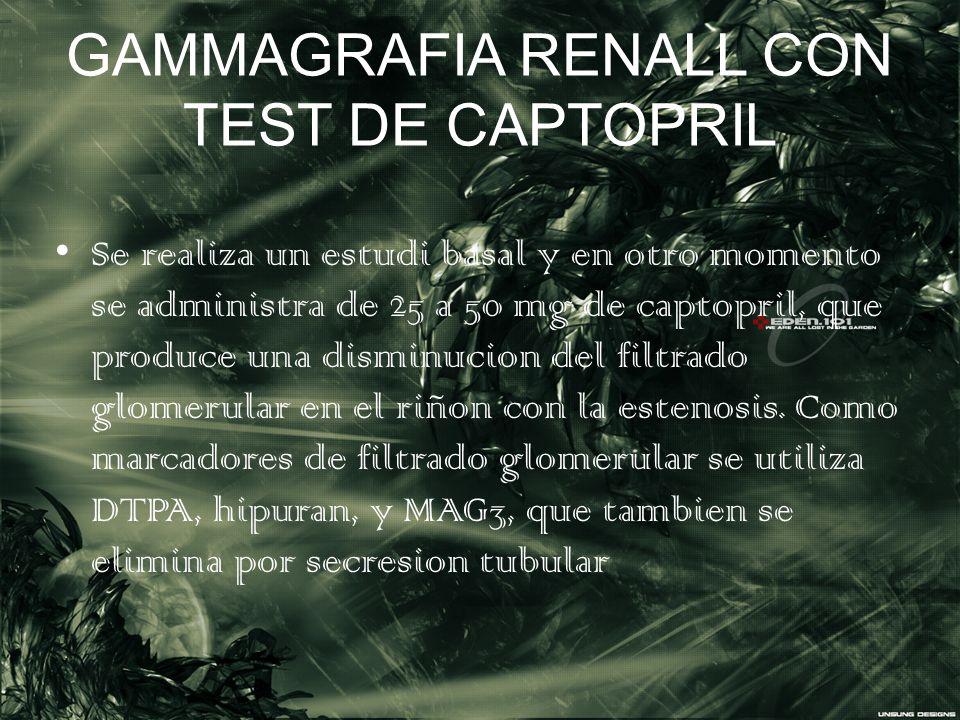 GAMMAGRAFIA RENALL CON TEST DE CAPTOPRIL Se realiza un estudi basal y en otro momento se administra de 25 a 50 mg de captopril, que produce una dismin