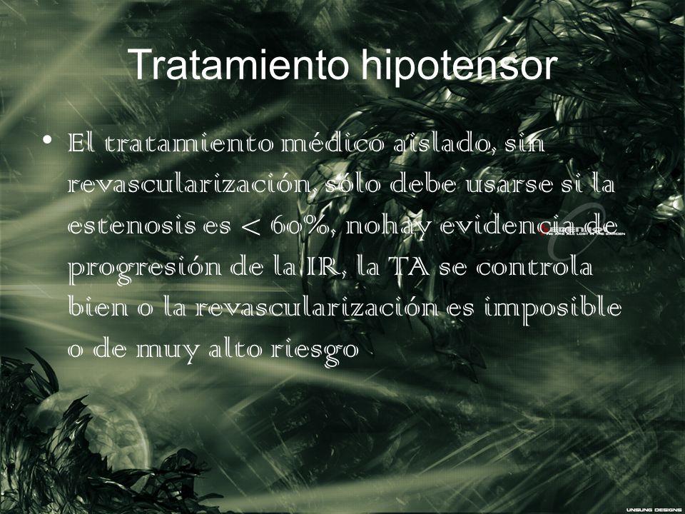 Tratamiento hipotensor El tratamiento médico aislado, sin revascularización, sólo debe usarse si la estenosis es < 60%, nohay evidencia de progresión