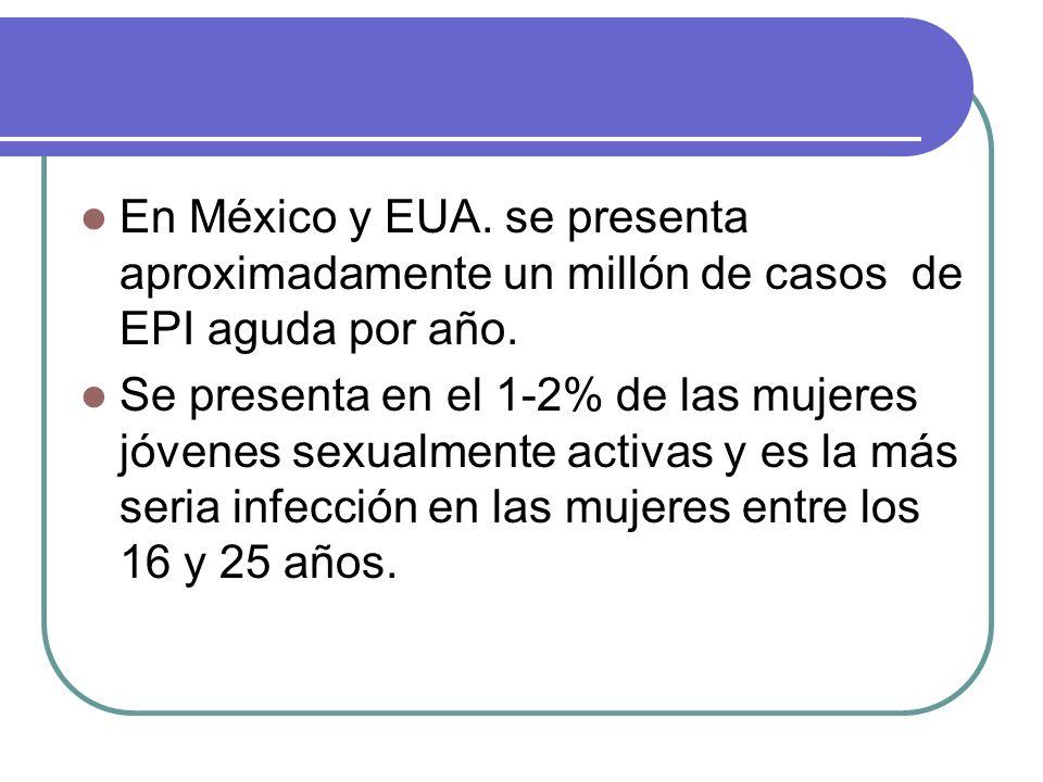 En México y EUA. se presenta aproximadamente un millón de casos de EPI aguda por año. Se presenta en el 1-2% de las mujeres jóvenes sexualmente activa