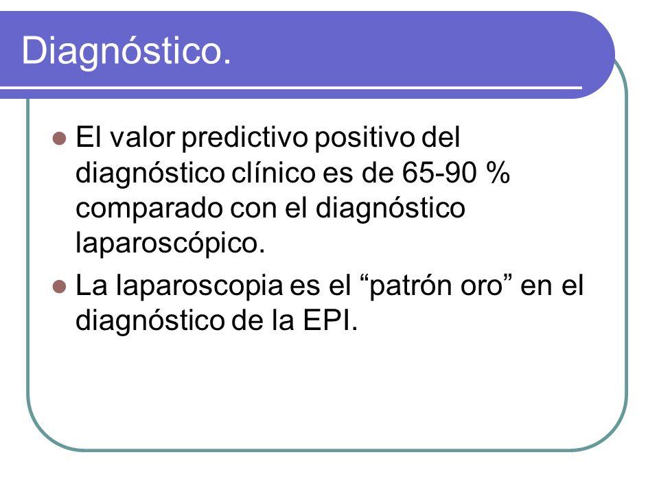 Diagnóstico. El valor predictivo positivo del diagnóstico clínico es de 65-90 % comparado con el diagnóstico laparoscópico. La laparoscopia es el patr