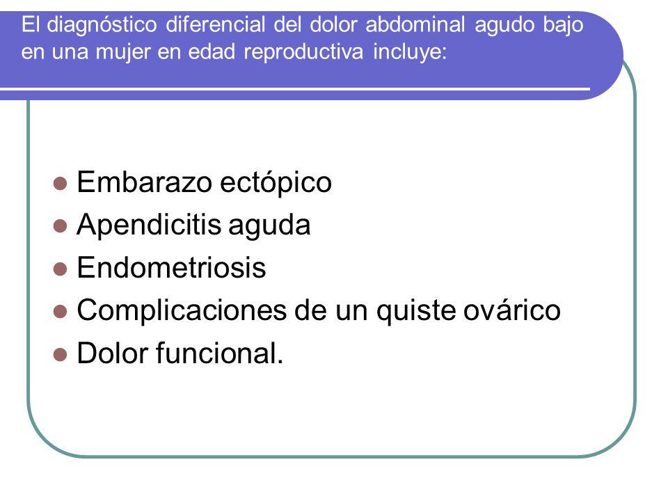El diagnóstico diferencial del dolor abdominal agudo bajo en una mujer en edad reproductiva incluye: Embarazo ectópico Apendicitis aguda Endometriosis