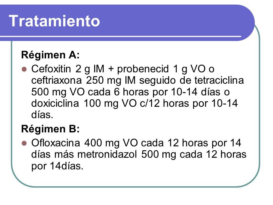 Tratamiento Régimen A: Cefoxitin 2 g IM + probenecid 1 g VO o ceftriaxona 250 mg IM seguido de tetraciclina 500 mg VO cada 6 horas por 10-14 días o do