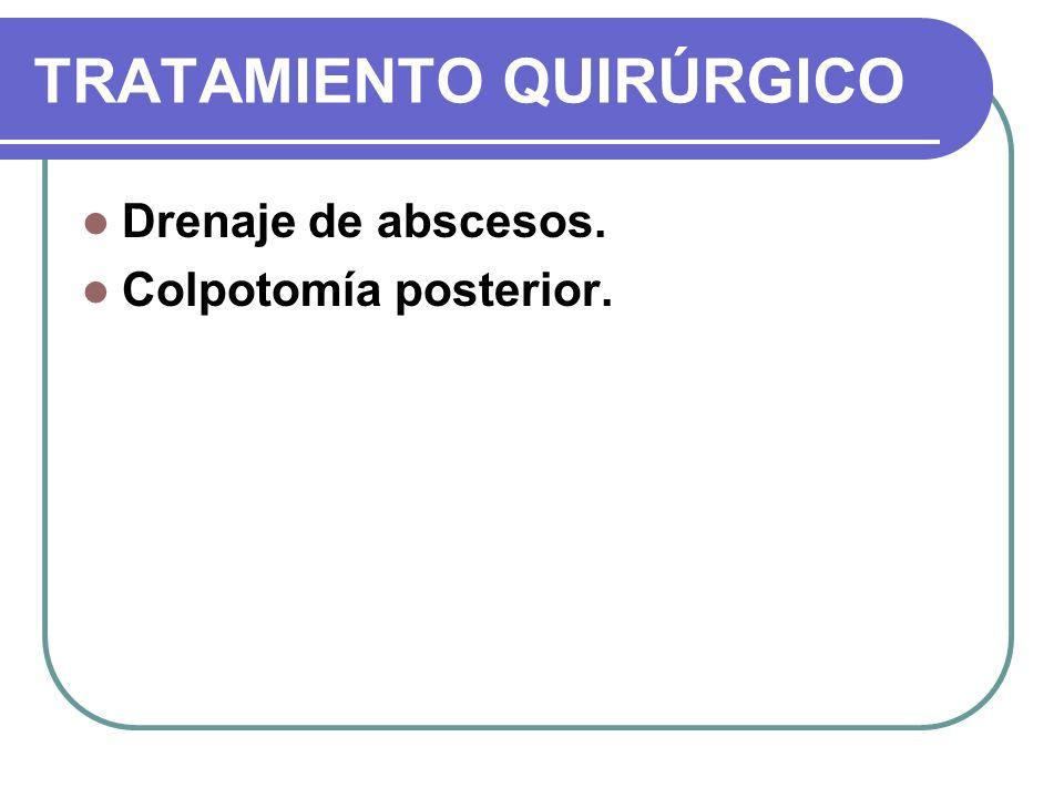 TRATAMIENTO QUIRÚRGICO Drenaje de abscesos. Colpotomía posterior.