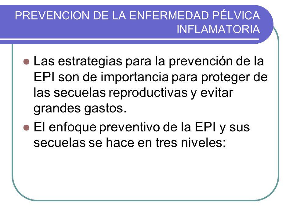 PREVENCION DE LA ENFERMEDAD PÉLVICA INFLAMATORIA Las estrategias para la prevención de la EPI son de importancia para proteger de las secuelas reprodu