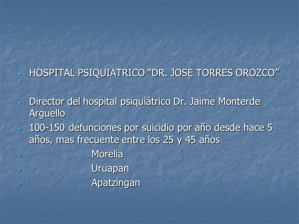 HOSPITAL PSIQUIATRICO DR. JOSE TORRES OROZCO HOSPITAL PSIQUIATRICO DR. JOSE TORRES OROZCO Director del hospital psiquiátrico Dr. Jaime Monterde Arguel