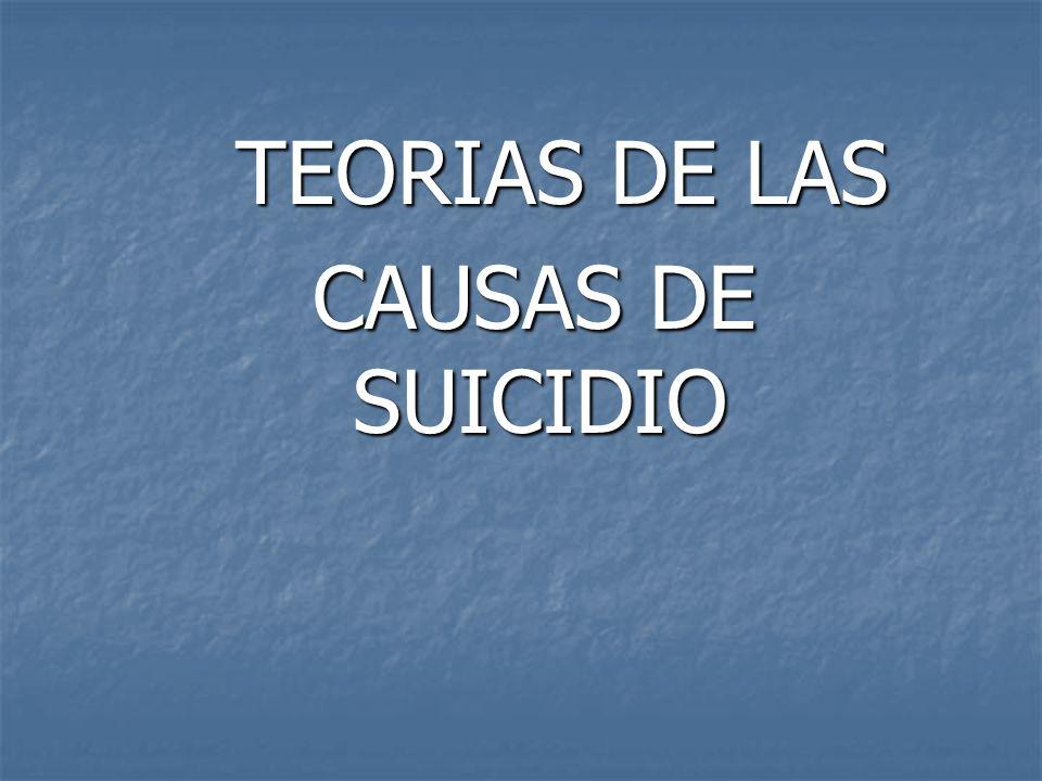 TEORIAS DE LAS TEORIAS DE LAS CAUSAS DE SUICIDIO CAUSAS DE SUICIDIO