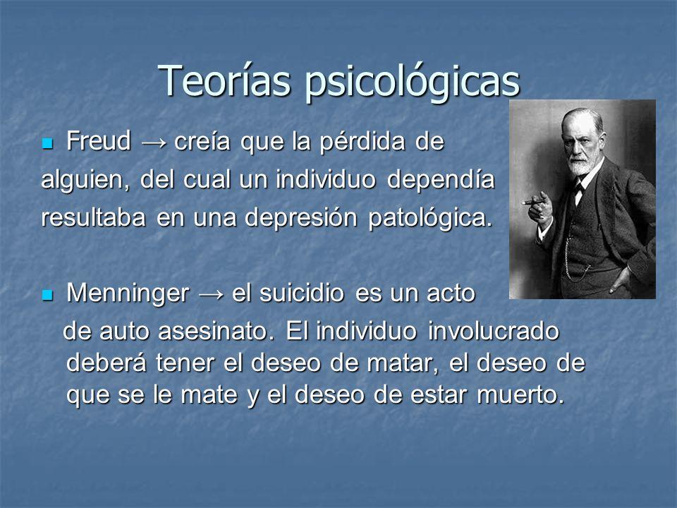 Teorías psicológicas Freud creía que la pérdida de Freud creía que la pérdida de alguien, del cual un individuo dependía resultaba en una depresión pa