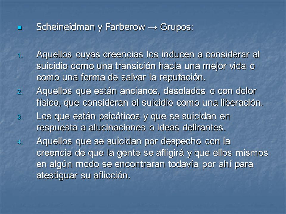 Scheineidman y Farberow Grupos: Scheineidman y Farberow Grupos: 1. Aquellos cuyas creencias los inducen a considerar al suicidio como una transición h