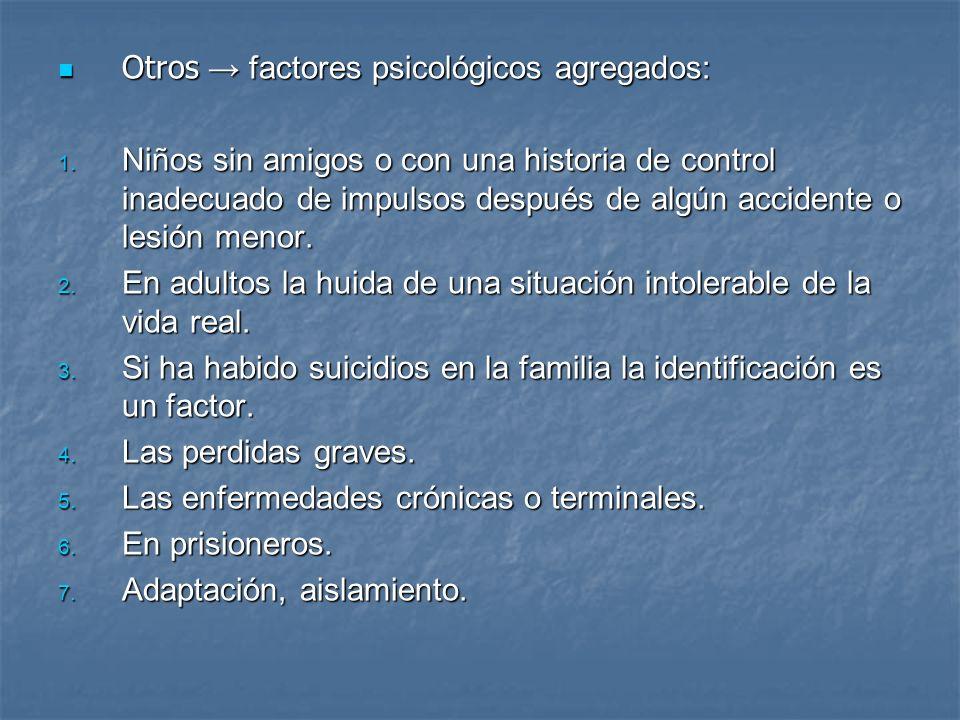 Otros factores psicológicos agregados: Otros factores psicológicos agregados: 1. Niños sin amigos o con una historia de control inadecuado de impulsos
