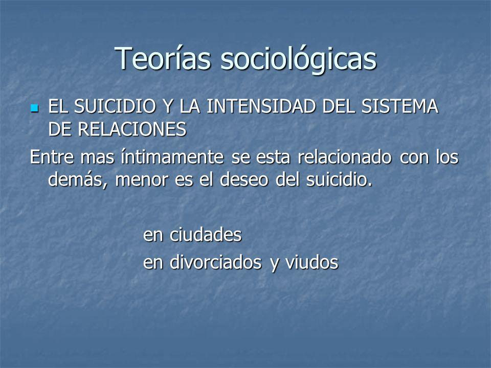 Teorías sociológicas EL SUICIDIO Y LA INTENSIDAD DEL SISTEMA DE RELACIONES EL SUICIDIO Y LA INTENSIDAD DEL SISTEMA DE RELACIONES Entre mas íntimamente