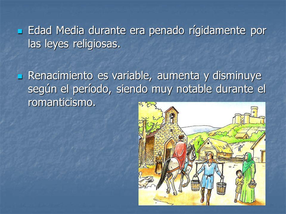Edad Media durante era penado rígidamente por las leyes religiosas. Edad Media durante era penado rígidamente por las leyes religiosas. Renacimiento e