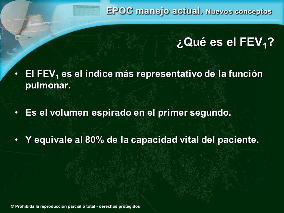 ¿Qué es el FEV 1 ? El FEV 1 es el índice más representativo de la función pulmonar.El FEV 1 es el índice más representativo de la función pulmonar. Es