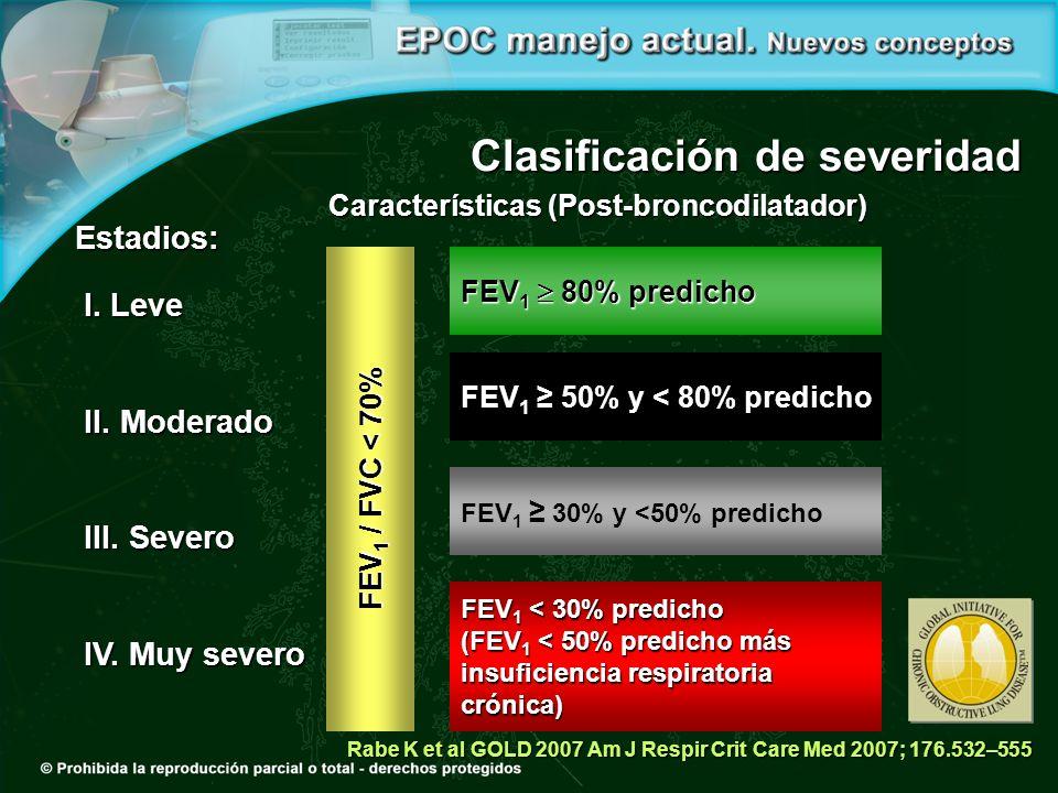 Clasificación de severidad FEV 1 80% predicho FEV 1 50% y < 80% predicho FEV 1 30% y <50% predicho FEV 1 < 30% predicho (FEV 1 < 50% predicho más insuficiencia respiratoria crónica) FEV 1 / FVC < 70% I.