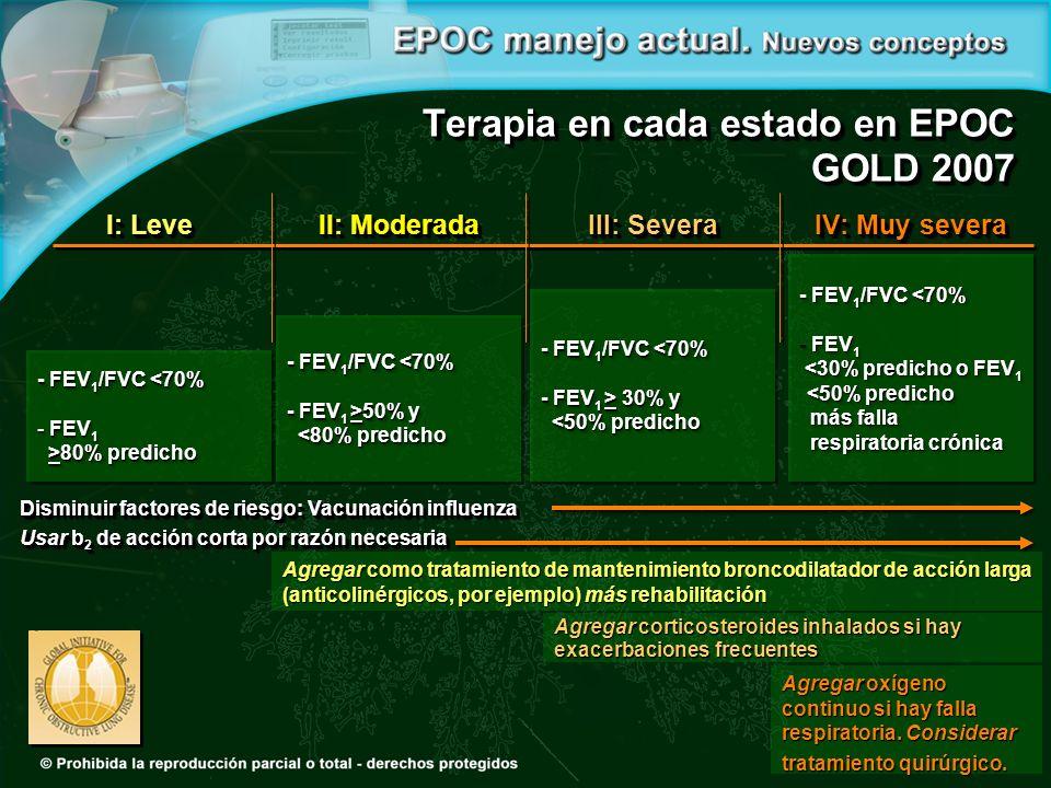 I: Leve - FEV 1 /FVC <70% - FEV 1 >80% predicho >80% predicho - FEV 1 /FVC <70% - FEV 1 >80% predicho >80% predicho II: Moderada - FEV 1 /FVC <70% - FEV 1 >50% y <80% predicho <80% predicho - FEV 1 /FVC <70% - FEV 1 >50% y <80% predicho <80% predicho III: Severa - FEV 1 /FVC <70% - FEV 1 > 30% y <50% predicho <50% predicho - FEV 1 /FVC <70% - FEV 1 > 30% y <50% predicho <50% predicho IV: Muy severa - FEV 1 /FVC <70% - FEV 1 <30% predicho o FEV 1 <30% predicho o FEV 1 <50% predicho <50% predicho más falla más falla respiratoria crónica respiratoria crónica - FEV 1 /FVC <70% - FEV 1 <30% predicho o FEV 1 <30% predicho o FEV 1 <50% predicho <50% predicho más falla más falla respiratoria crónica respiratoria crónica Terapia en cada estado en EPOC GOLD 2007 Agregar como tratamiento de mantenimiento broncodilatador de acción larga (anticolinérgicos, por ejemplo) más rehabilitación Agregar corticosteroides inhalados si hay exacerbaciones frecuentes Disminuir factores de riesgo: Vacunación influenza Usar b 2 de acción corta por razón necesaria Disminuir factores de riesgo: Vacunación influenza Usar b 2 de acción corta por razón necesaria Agregar oxígeno continuo si hay falla respiratoria.