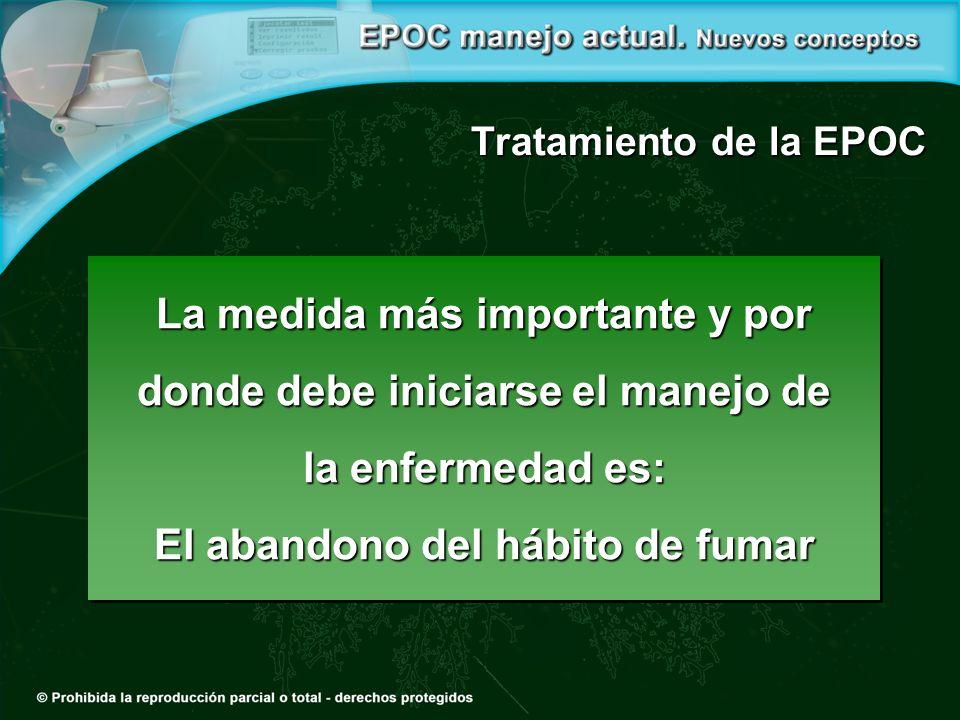 Tratamiento de la EPOC La medida más importante y por donde debe iniciarse el manejo de la enfermedad es: El abandono del hábito de fumar La medida más importante y por donde debe iniciarse el manejo de la enfermedad es: El abandono del hábito de fumar