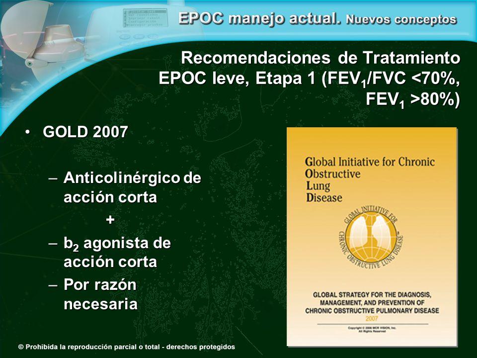 Recomendaciones de Tratamiento EPOC leve, Etapa 1 (FEV 1 /FVC 80%) GOLD 2007GOLD 2007 –Anticolinérgico de acción corta + –b 2 agonista de acción corta –Por razón necesaria