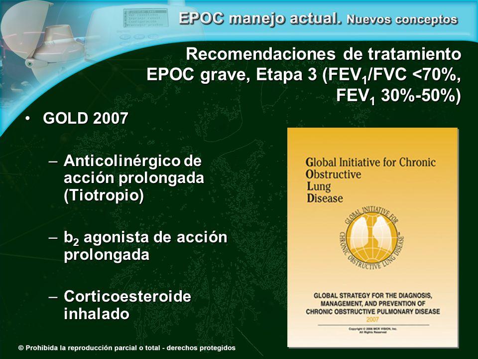 Recomendaciones de tratamiento EPOC grave, Etapa 3 (FEV 1 /FVC <70%, FEV 1 30%-50%) GOLD 2007GOLD 2007 –Anticolinérgico de acción prolongada (Tiotropio) –b 2 agonista de acción prolongada –Corticoesteroide inhalado