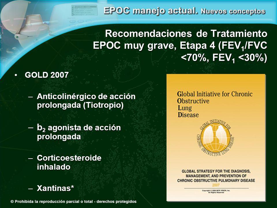 Recomendaciones de Tratamiento EPOC muy grave, Etapa 4 (FEV 1 /FVC <70%, FEV 1 <30%) GOLD 2007GOLD 2007 –Anticolinérgico de acción prolongada (Tiotropio) –b 2 agonista de acción prolongada –Corticoesteroide inhalado –Xantinas*