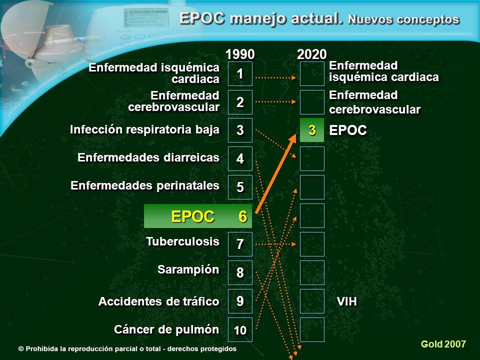 22 33 44 55 77 88 99 1010 11 Enfermedad isquémica cardiaca Enfermedad cerebrovascular Infección respiratoria baja Enfermedades diarreicas Enfermedades perinatales TuberculosisTuberculosis Sarampión Accidentes de tráfico Cáncer de pulmón 1990199020202020 Enfermedad cerebrovascular EPOCEPOC Gold 2007 VIHVIH EPOC 6 EPOC 63