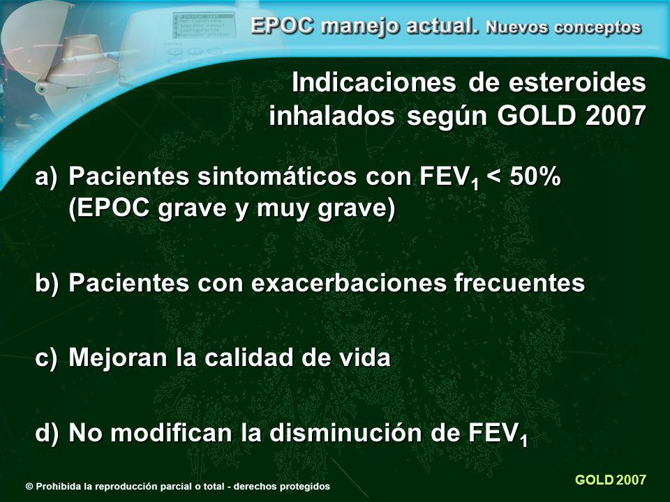 GOLD 2007 Indicaciones de esteroides inhalados según GOLD 2007 a)Pacientes sintomáticos con FEV 1 < 50% (EPOC grave y muy grave) b)Pacientes con exacerbaciones frecuentes c)Mejoran la calidad de vida d)No modifican la disminución de FEV 1