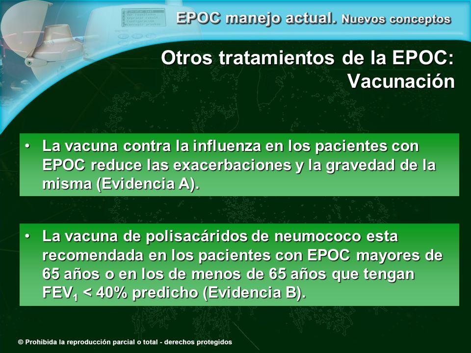 Otros tratamientos de la EPOC: Vacunación La vacuna de polisacáridos de neumococo esta recomendada en los pacientes con EPOC mayores de 65 años o en los de menos de 65 años que tengan FEV 1 < 40% predicho (Evidencia B).La vacuna de polisacáridos de neumococo esta recomendada en los pacientes con EPOC mayores de 65 años o en los de menos de 65 años que tengan FEV 1 < 40% predicho (Evidencia B).