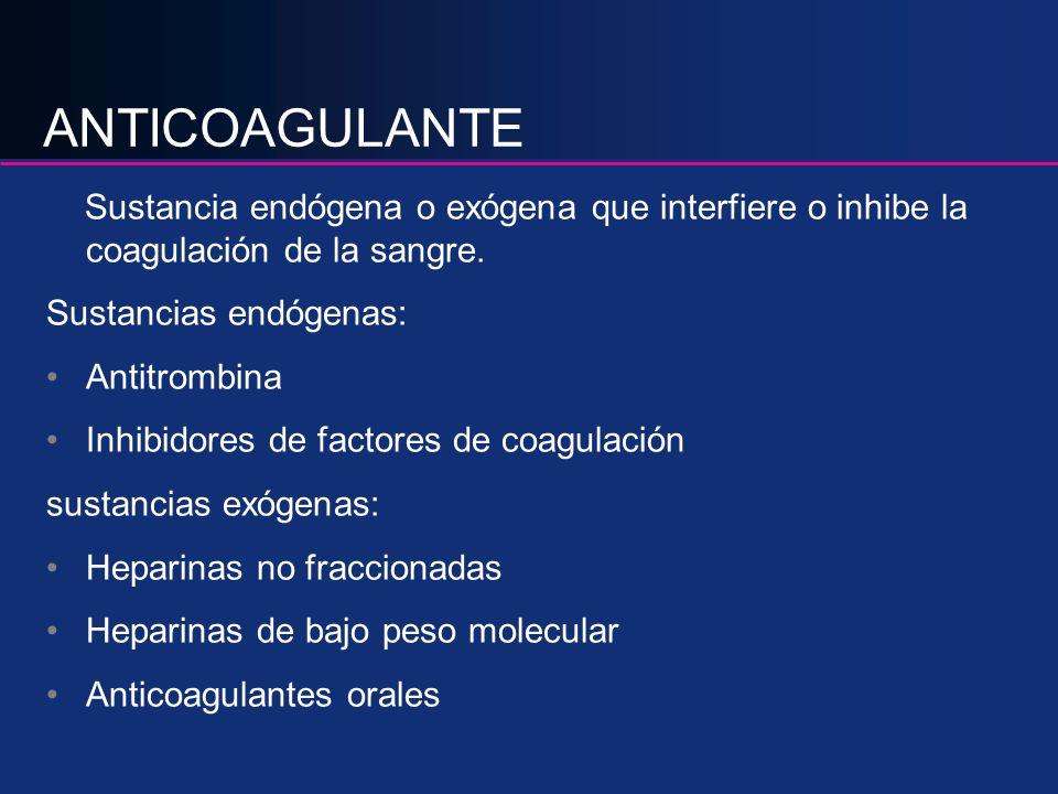 ANTICOAGULANTE Sustancia endógena o exógena que interfiere o inhibe la coagulación de la sangre. Sustancias endógenas: Antitrombina Inhibidores de fac