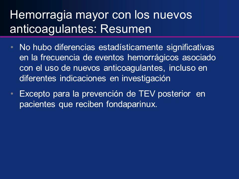 Hemorragia mayor con los nuevos anticoagulantes: Resumen No hubo diferencias estadísticamente significativas en la frecuencia de eventos hemorrágicos