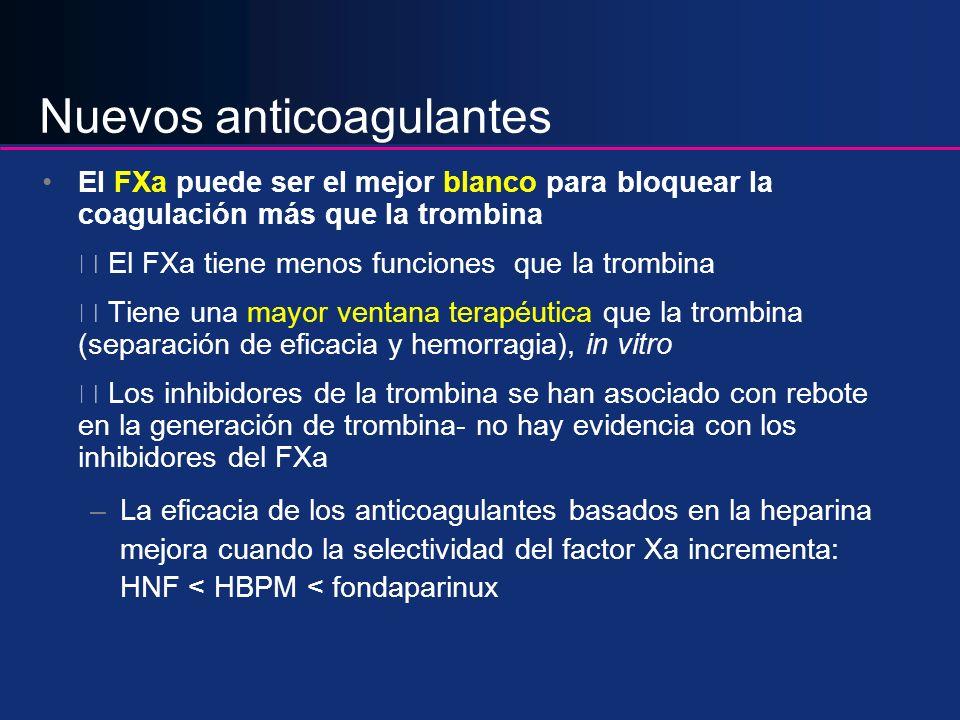 Nuevos anticoagulantes El FXa puede ser el mejor blanco para bloquear la coagulación más que la trombina El FXa tiene menos funciones que la trombina
