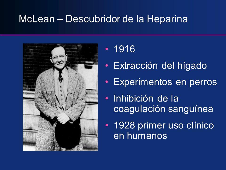 McLean – Descubridor de la Heparina 1916 Extracción del hígado Experimentos en perros Inhibición de la coagulación sanguínea 1928 primer uso clínico e