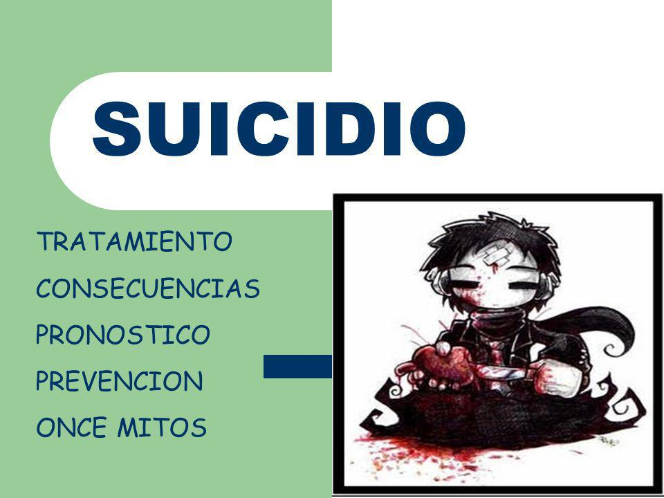 TRATAMIENTO Los primeros pasos fundamentales para prevenir suicidio se basa en la capacidad del medico para identificar a los pacientes que están en riesgo y decidir si es necesario hospitalizarlos.
