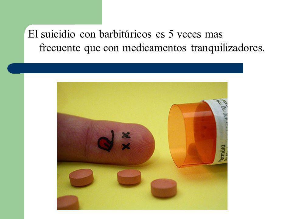 El suicidio con barbitúricos es 5 veces mas frecuente que con medicamentos tranquilizadores.