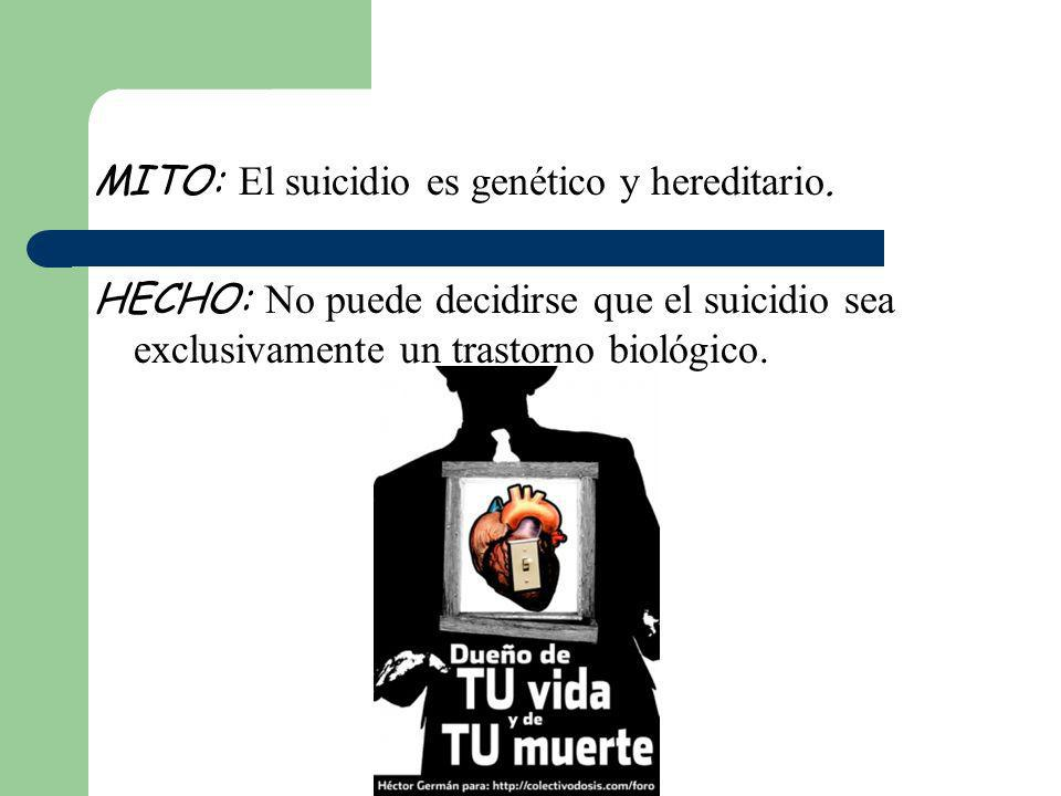 MITO: El suicidio es genético y hereditario. HECHO: No puede decidirse que el suicidio sea exclusivamente un trastorno biológico.