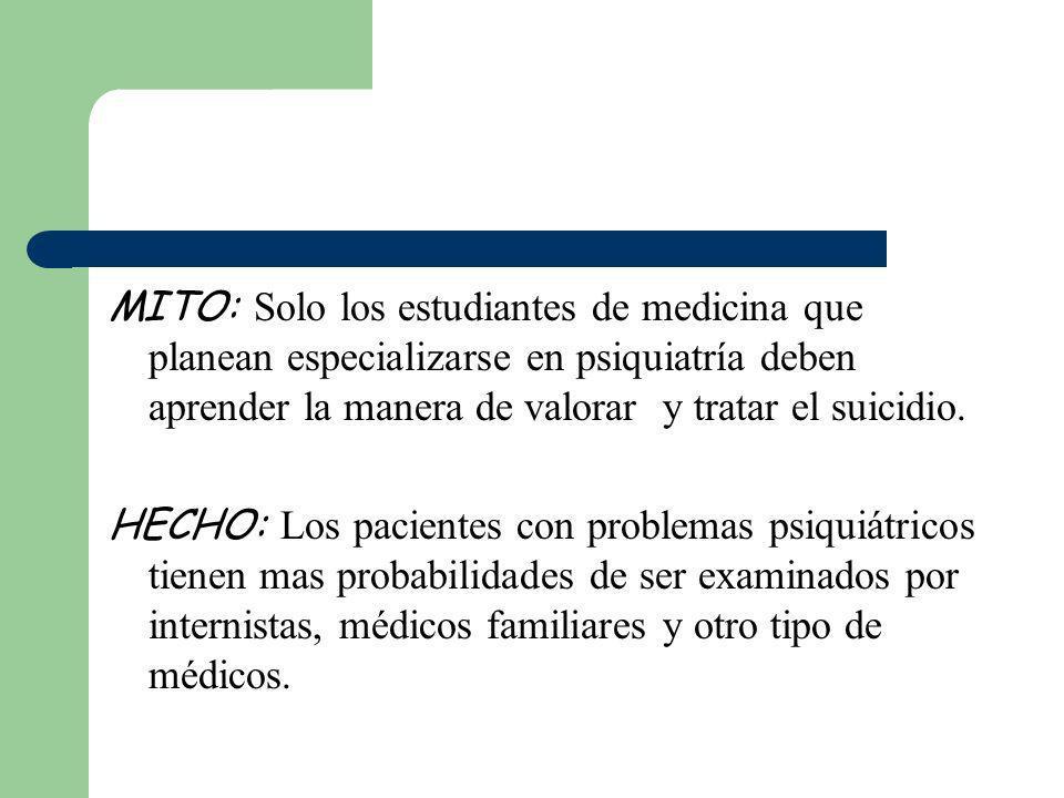 MITO: Solo los estudiantes de medicina que planean especializarse en psiquiatría deben aprender la manera de valorar y tratar el suicidio. HECHO: Los
