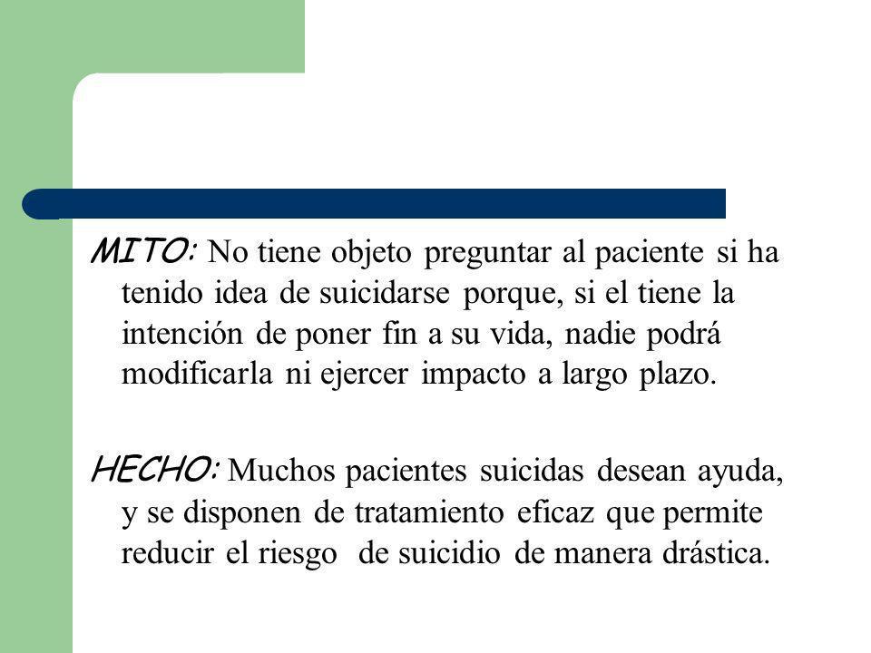 MITO: No tiene objeto preguntar al paciente si ha tenido idea de suicidarse porque, si el tiene la intención de poner fin a su vida, nadie podrá modif