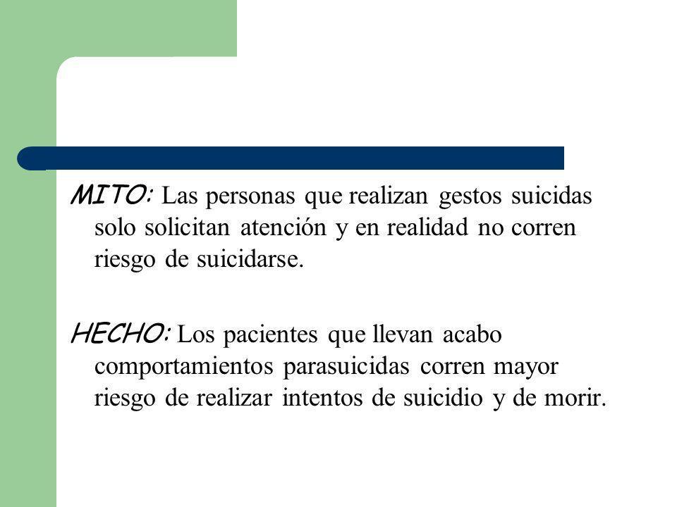 MITO: Las personas que realizan gestos suicidas solo solicitan atención y en realidad no corren riesgo de suicidarse. HECHO: Los pacientes que llevan