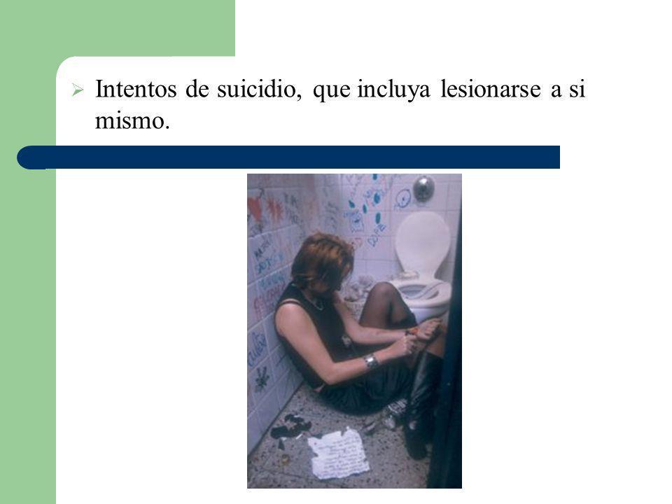 Intentos de suicidio, que incluya lesionarse a si mismo.