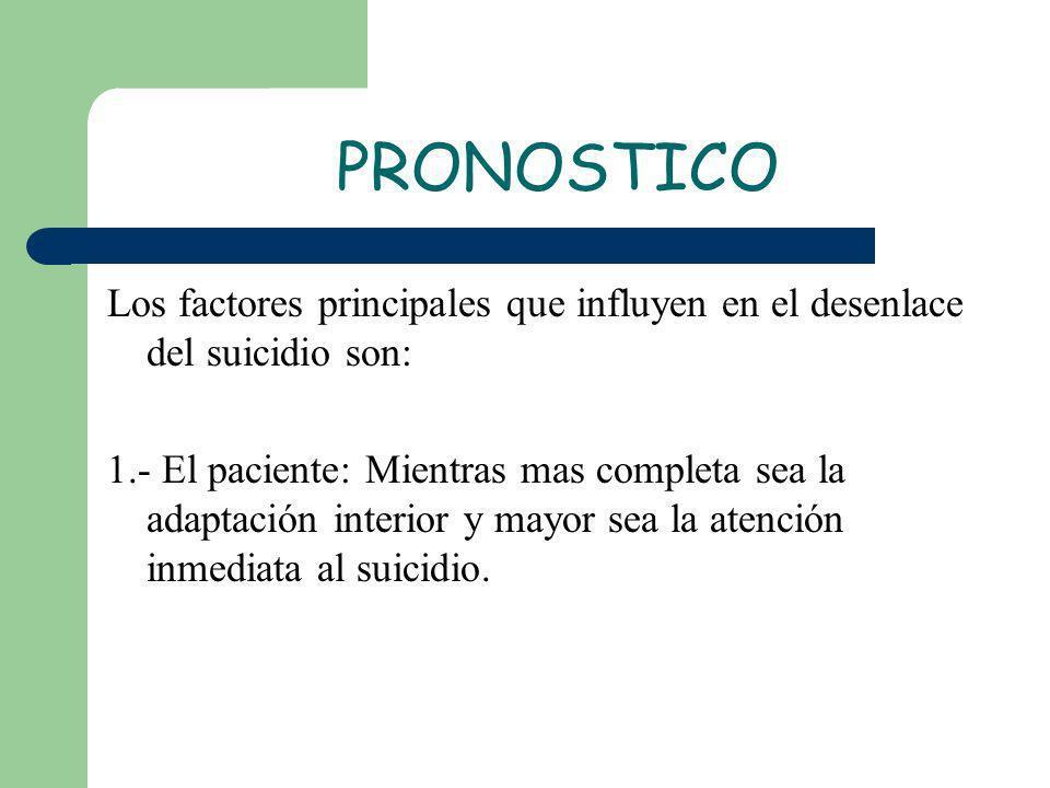 PRONOSTICO Los factores principales que influyen en el desenlace del suicidio son: 1.- El paciente: Mientras mas completa sea la adaptación interior y