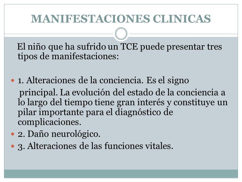 MANIFESTACIONES CLINICAS El niño que ha sufrido un TCE puede presentar tres tipos de manifestaciones: 1. Alteraciones de la conciencia. Es el signo pr
