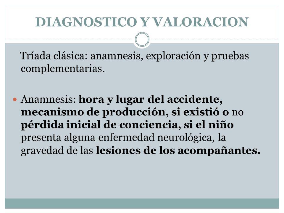 DIAGNOSTICO Y VALORACION Tríada clásica: anamnesis, exploración y pruebas complementarias. Anamnesis: hora y lugar del accidente, mecanismo de producc