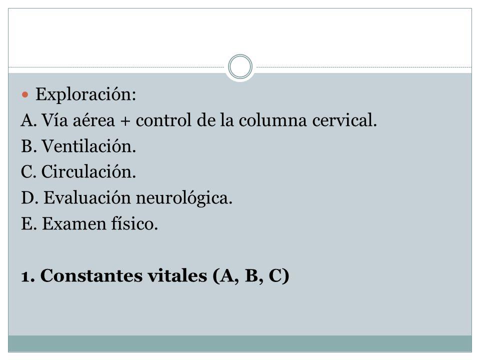 Exploración: A. Vía aérea + control de la columna cervical. B. Ventilación. C. Circulación. D. Evaluación neurológica. E. Examen físico. 1. Constantes