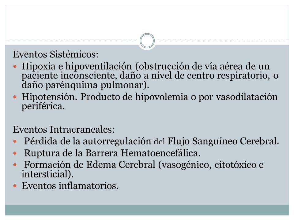 Eventos Sistémicos: Hipoxia e hipoventilación (obstrucción de vía aérea de un paciente inconsciente, daño a nivel de centro respiratorio, o daño parén
