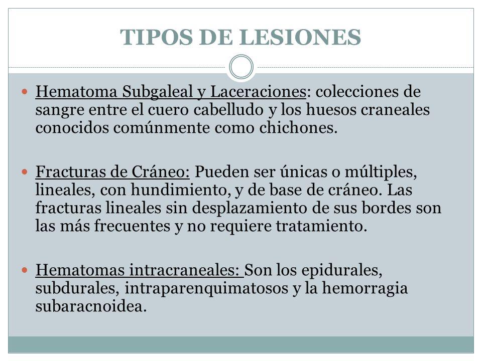 TIPOS DE LESIONES Hematoma Subgaleal y Laceraciones: colecciones de sangre entre el cuero cabelludo y los huesos craneales conocidos comúnmente como c