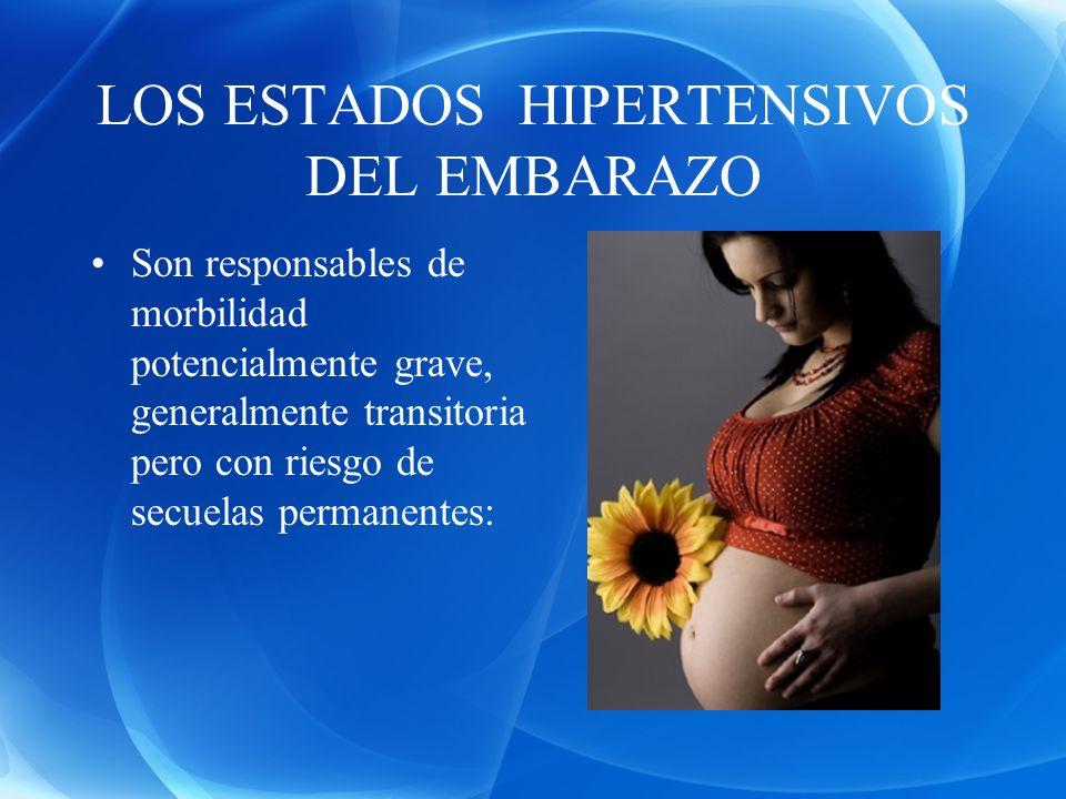 LOS ESTADOS HIPERTENSIVOS DEL EMBARAZO Son responsables de morbilidad potencialmente grave, generalmente transitoria pero con riesgo de secuelas perma